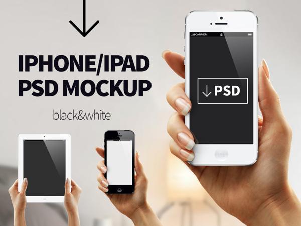 Black and White iPhone/iPad Free PSD MOCKUP