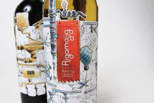 Rigamajig Wine on the Behance Network #alcohol #design #sandy #wine #label #illustration #logo #grigoryan #typography