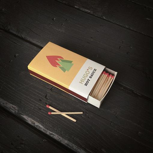 Hugo's Hot Sauce #sauce #branding #packaging #hot #illustration #fire #matches #jagnagra