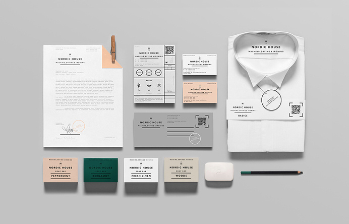 Logotype and stationery design by Anagrama for dry cleaning shop Nordic House #branding