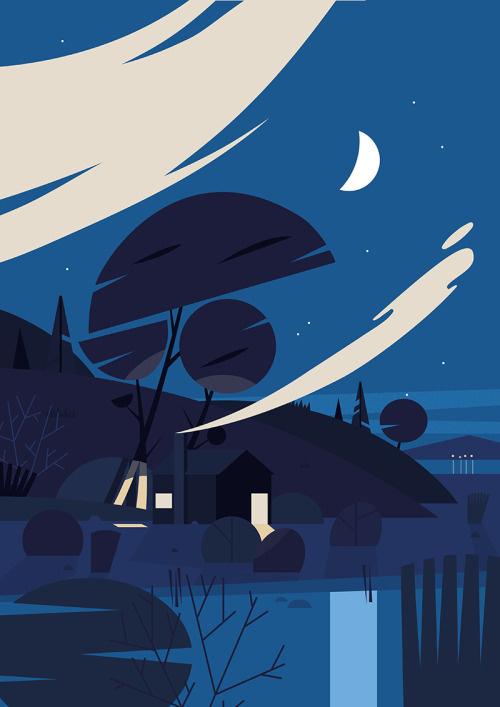 Night Sky #illustration #nature #blue #clouds #cabin #woods