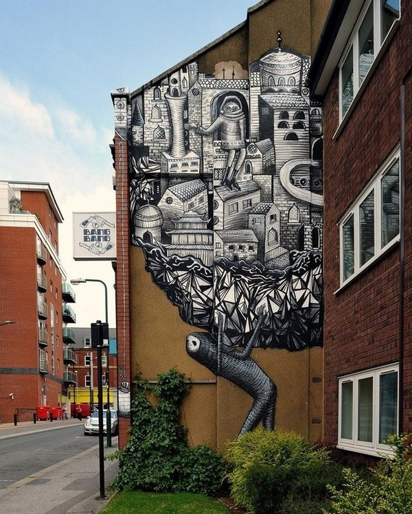 Black and white colored street art #abstract #surrealism #art #street #surreal