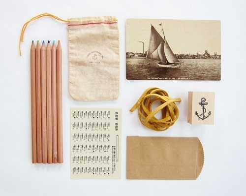 Things Organized Neatly #stamp #rubber #product #photography #pencils #stationery #postcard #band #pouch