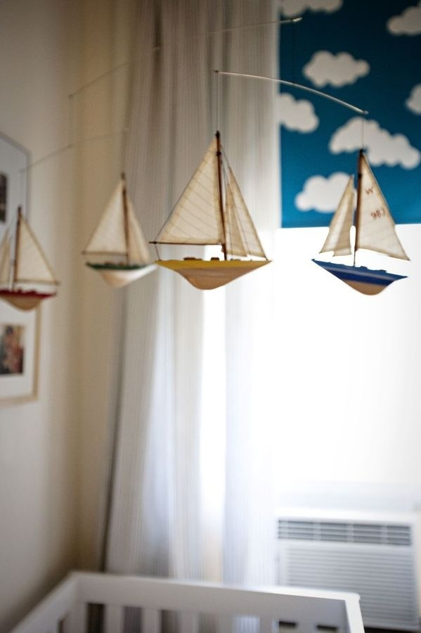 A CUP OF JO: Toby's nursery #clouds #ship #mobile #sail #baby