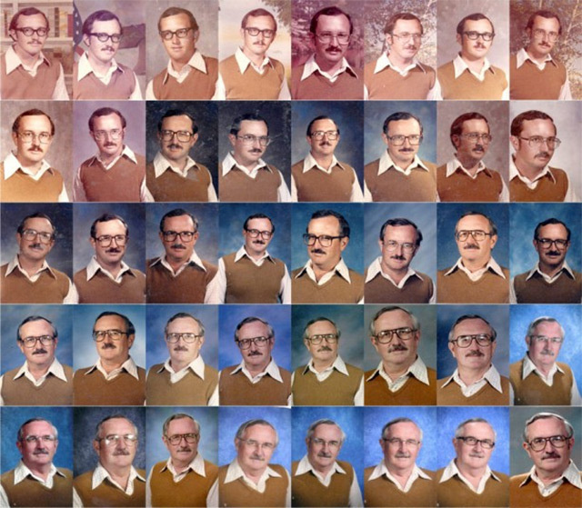 Retired P.E. Teacher Wears Same Outfit for 40 Years of Yearbook Portraits portraits multiples #multiples #portraits #teacher