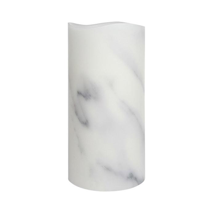Carrara Marble Smooth Wax LED Flameless Pillar Candle, 10 x 20 cm