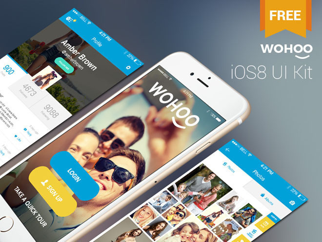 Wohoo : Free Mobile iOS 8 UI Kit