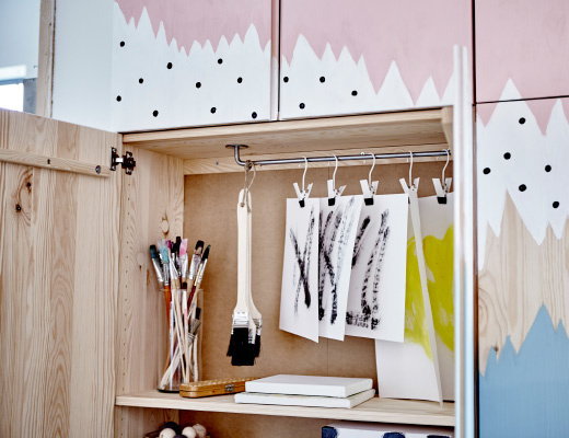 IKEA IVAR pimped pinewood cabinet, smart storage for craft/artwork in process
