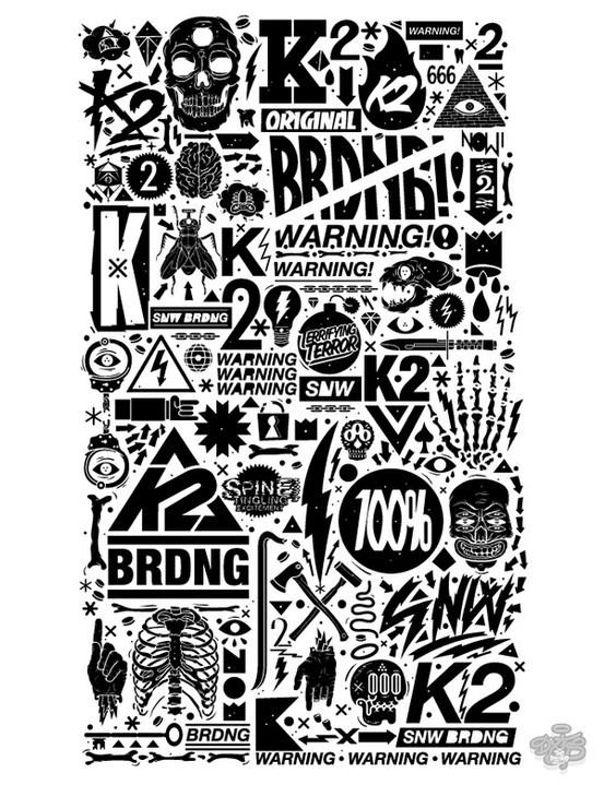 ILLUSTRATION- Great Works / K2 Snowboarding x DXTR / Vandal 12/13 by DXTR , via Behance #illustration #typography #black and white #snowboar