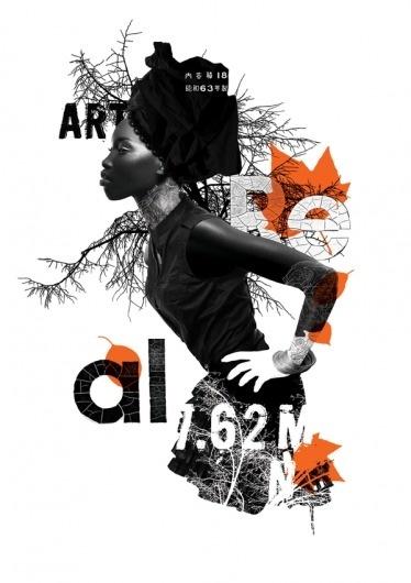 Mixed media collage 2 on the Behance Network #white #design #orange #texture #black #illustration #fashion #style