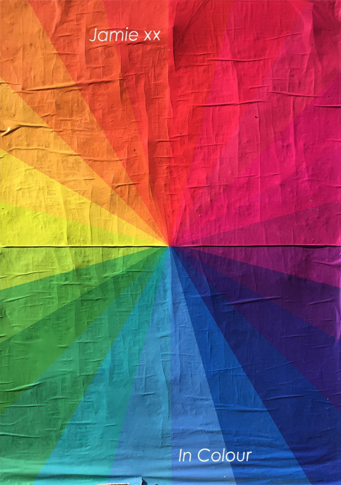 Poster advertising Jamie xx's In Colour #poster, #rainbow, #colour, #geometric
