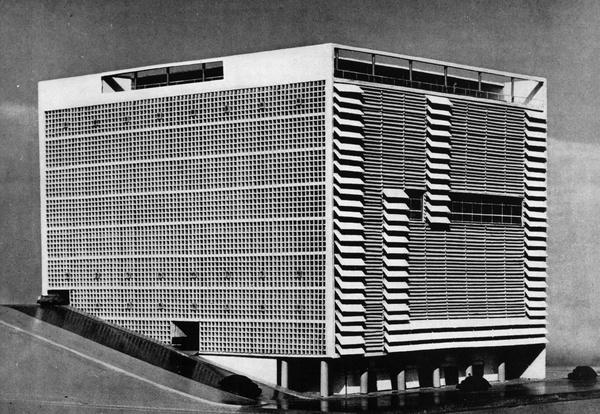 "archiveofaffinities:Oscar Niemeyer, Building for the ""Emprezas Graficas o Cruzeiro"", Rio de Janeiro, Brazil, 1949 #models #oscar #niemeyer #architecture #facades"