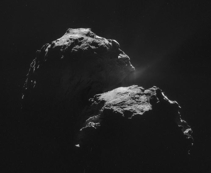 Four image NAVCAM mosaic comprising images taken on 4 November. Credits: ESA/Rosetta/NAVCAM – CC BY-SA IGO 3.0 #universe #navcam #rosetta #white #esa #space #black #comet #blackandwhite