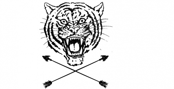 THROWBK - T B K #mark #white #mascot #black #arrow #logo #tiger