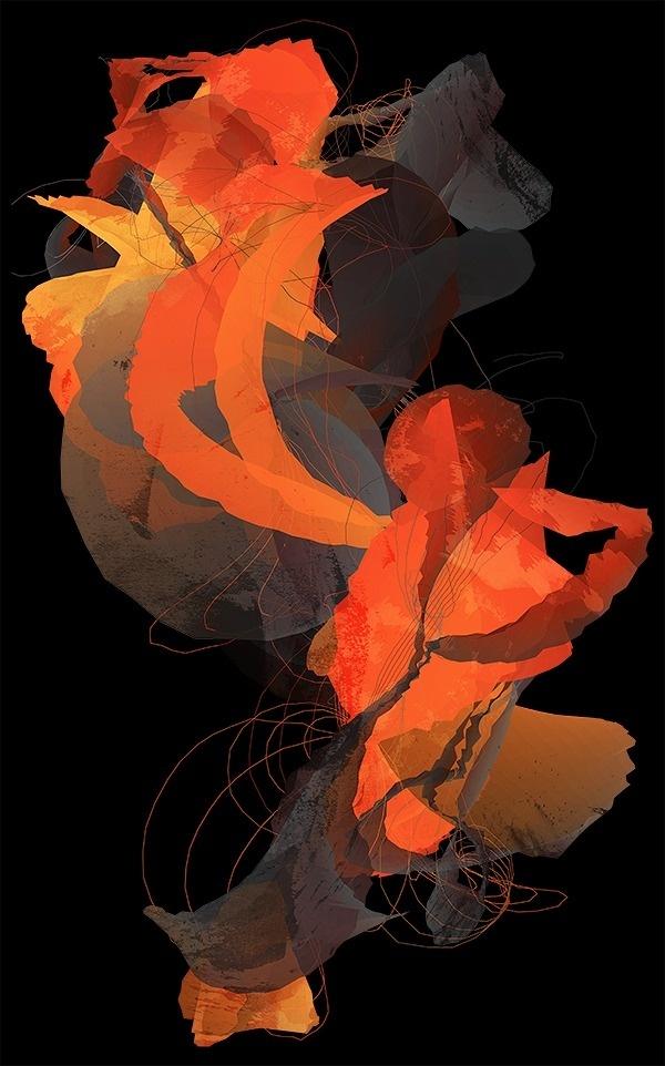 Unfold - Nick Taylor #abstract #design #orange #illustration #unfold #art #painting #surreal #collage