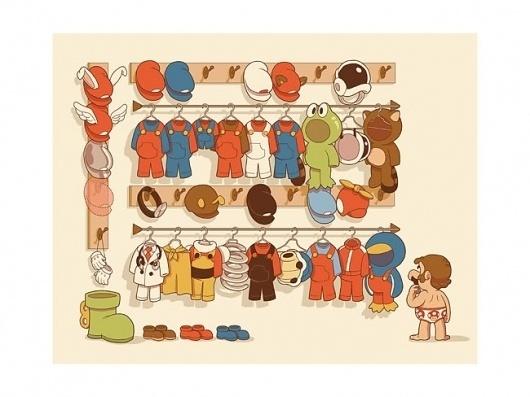 GlenBroganMariosClosetSmallforWeb.jpg (JPEG Image, 650×488 pixels) #outfits #illustration #mario #closet