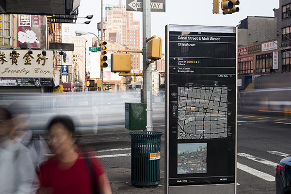 A new system of wayfinding signs helps pedestrians navigate New York City streets. #pentagram #wayfinding