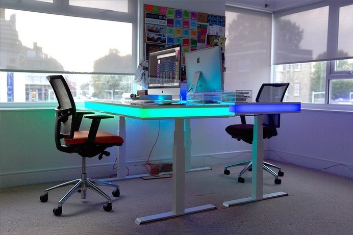 workspace lighting. Adjustable Smart Table Design With Ambient LED Lighting: TableAir #office #home #workspace Workspace Lighting W