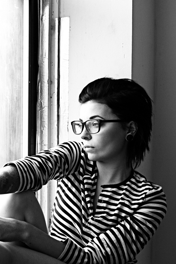 Becky #glasses #blackwhite #stripes #photography #window #light