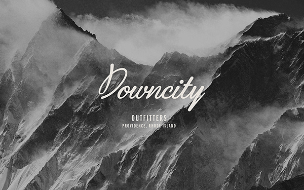 Downcity Outfitters on Behance #script #white #branding #black #and #logo #mountains #typography