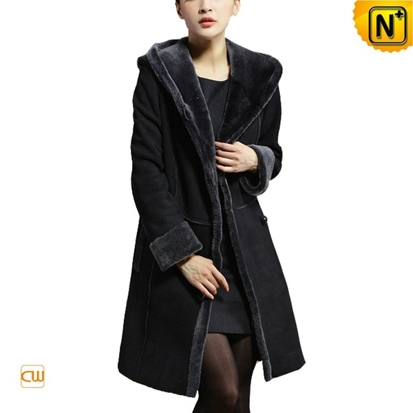 Long Hooded Shearling Coat Women CW640210 #shearling #hooded #coat