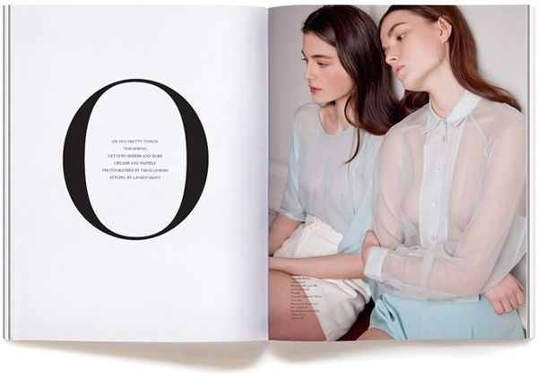 'Oh you pretty things' Town Magazine | Issue 4 Spring 2013 #o #photoshoot #pastel #girls #bleed #spread #letter #full #twins #layout #editorial #magazine #typography