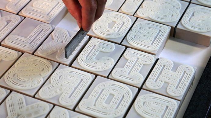 A23D 3D-printed letterpress font shown at london design festival #printed #3d