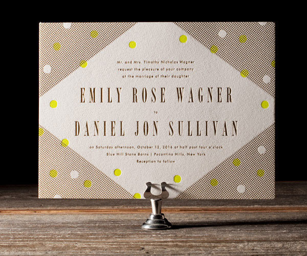 Modern Dot Letterpress Wedding Invitations by Erin Jang #print #letterpress #invitation #deboss #overlay #wedding