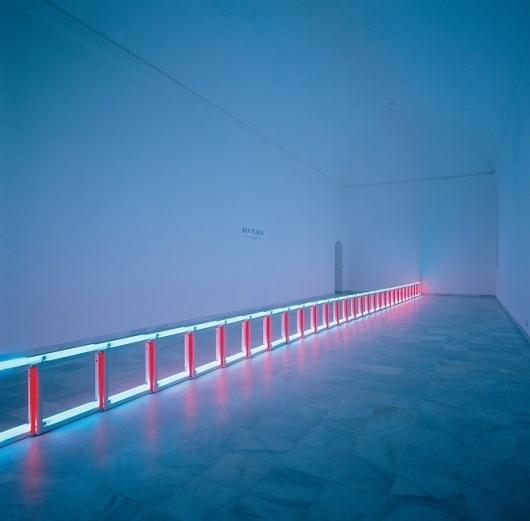 An artifical barrier of blue, red and blue fluorescent light (to Flavin Starbuck Judd) - Flavin, Dan - Conceptual art - Installation - Abstract - Term #sculpture #fluorescent #lights #colour #light #flavin