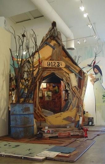ERIK OTTO STUDIOS #found #otto #birdhouse #paint #wood #art #erik #branches #spray