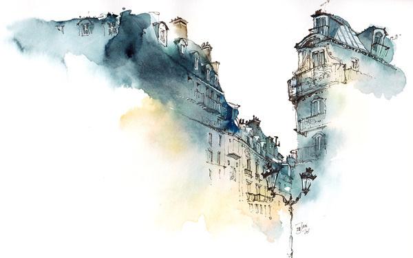 CJWHO ™ (Architectural Watercolors by Sunga Park Famous...) #watercolors #design #illustration #architecture #aquarelle #art