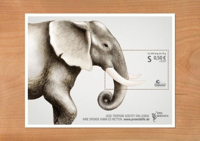 Pro Wildlife Campaign – Fubiz™ #stamp #wildlife #animals