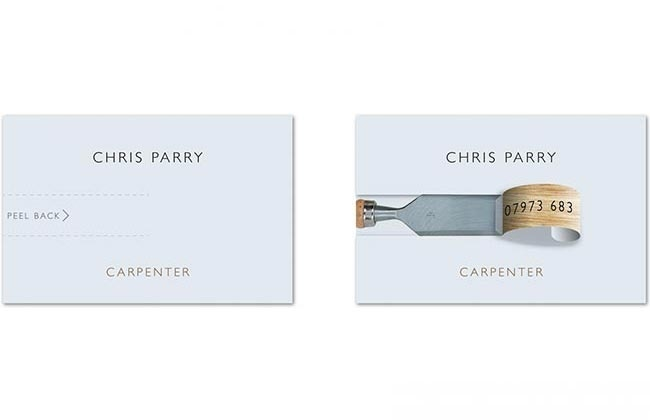 Print, business, card, business card, carpenter, chisel, wood, clever, clean, concept, professional, unique
