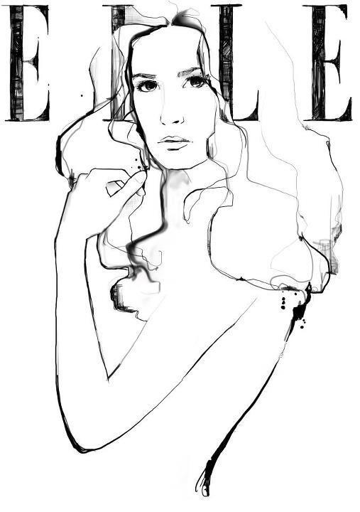 elle line drawing #white #b&w #& #black #illustration #fashion
