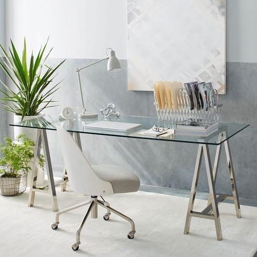 Cross-Base Desk - Polished Nickel, West Elm