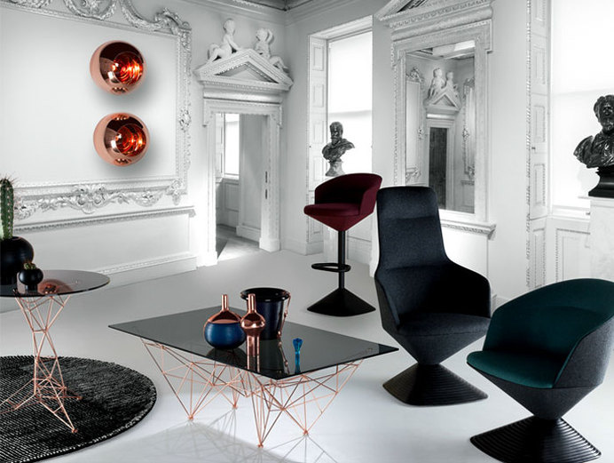 Interior Design Trends 2015 The Dark Color Schemes are Back upholstered stool tom dixon #interior #copper #design #decor #home