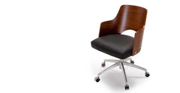 Cornell Swivel Office Chair in walnut and black | made.com #chair
