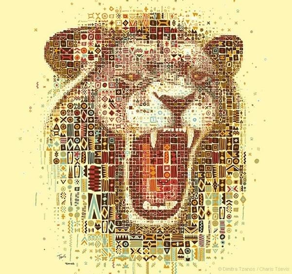 Lions mosaic portraits