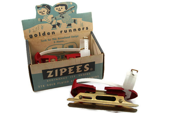 Zipees Golden Runners Ice Skates, Vintage 1950s Ice Skates, Childrens Ice Skates #iceskating #packaging #design #graphic #etsy #vintage
