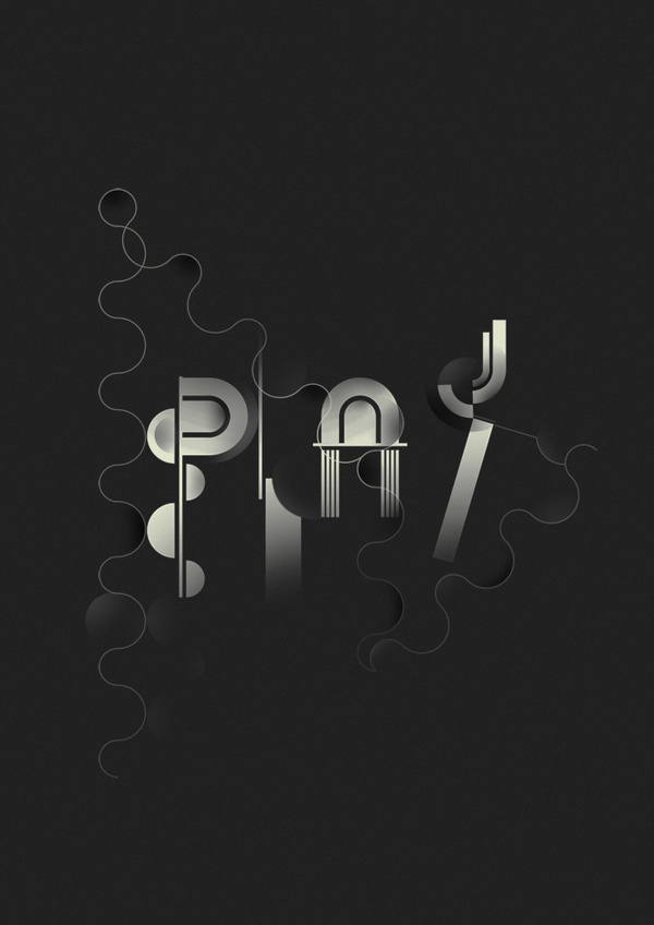 Play #modular #playful #lettering #vector #black #poster #typography