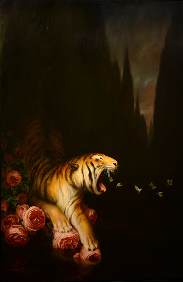 Nocturne Martin Wittfooth #ilustration #tiger #painting