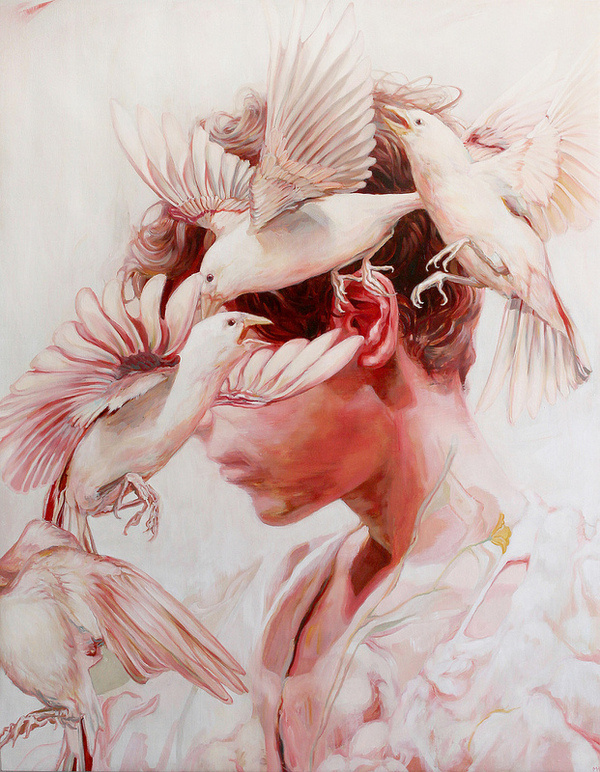 Meghan Howland's New Paintings Examine the Ephemerality of Beauty | Hi Fructose Magazine #portrait #bird