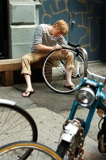 The Sartorialist: On the Street.... Crosby St., Soho #boy #photography #bike #street #fashion