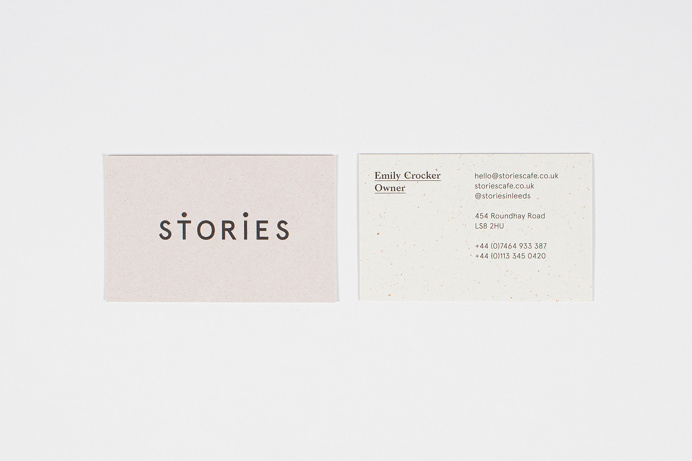 Brand identity for café 'Stories' restaurant bar cafe subtle minimal branding corporate graphic design visual identity coffee eat food prin