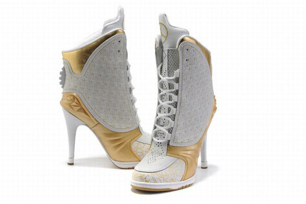 Nike Air Jordan 23 High Heels White/Gold #shoes