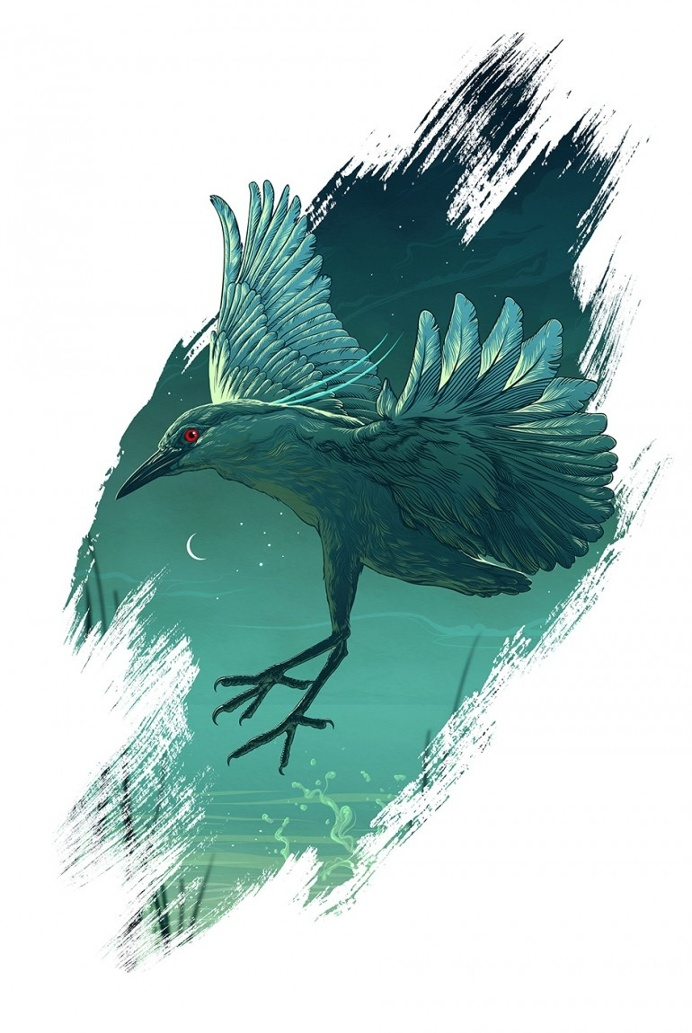 Night Heron/gvrds#09 Polish rare & endangered birds