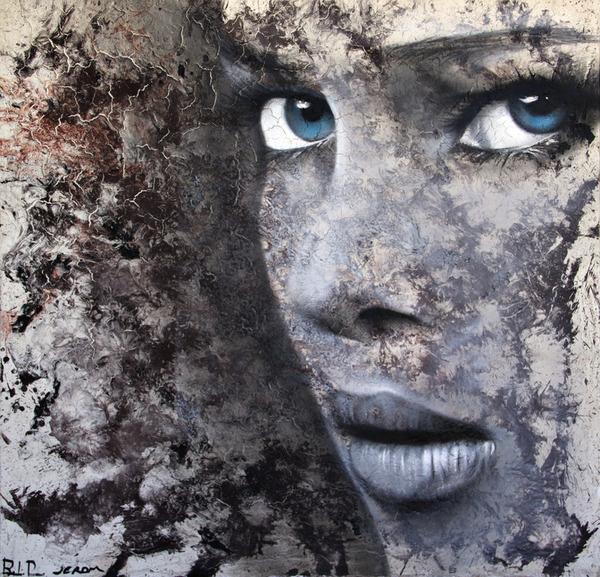 "Saatchi Online Artist: Jerom Art; Aerosol Paint, 2011, Painting ""Blue Eyes"" #eyes #women #illustration #portrait #blue"