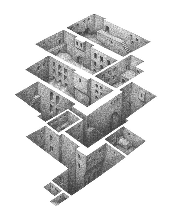 CJWHO ™ (Room Series by Mathew Borrett Born in 1972,...) #borrett #rooms #design #mathew #illustration #architecture #art #drawing