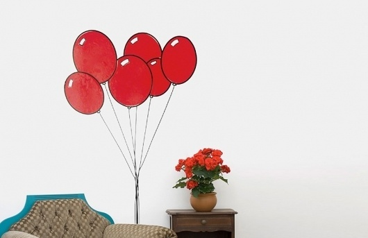 Butter #red #balloons #home #balloon #wall #sticker #plant