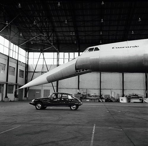 Merde! - Vintage photo #white #and #black #concorde #citron